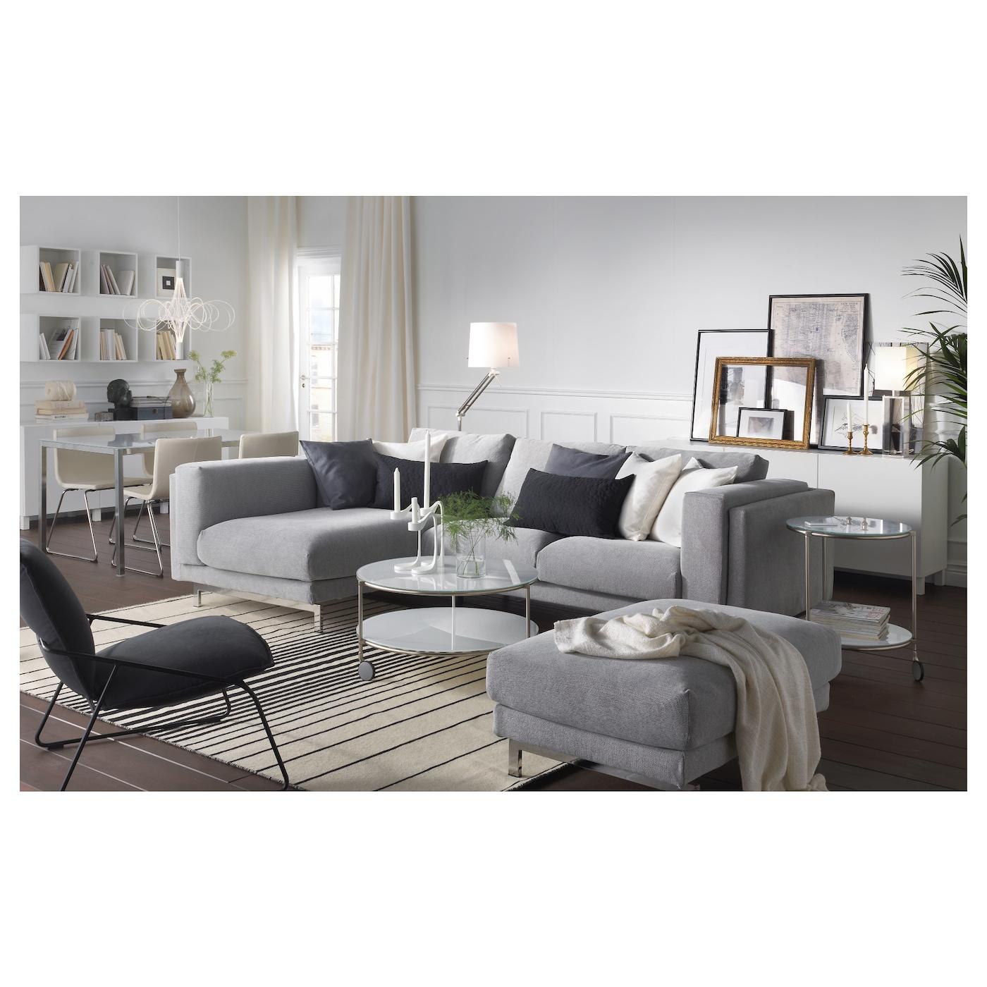 Nockeby two seat sofa w chaise longue left tallmyra white for Sofa nockeby