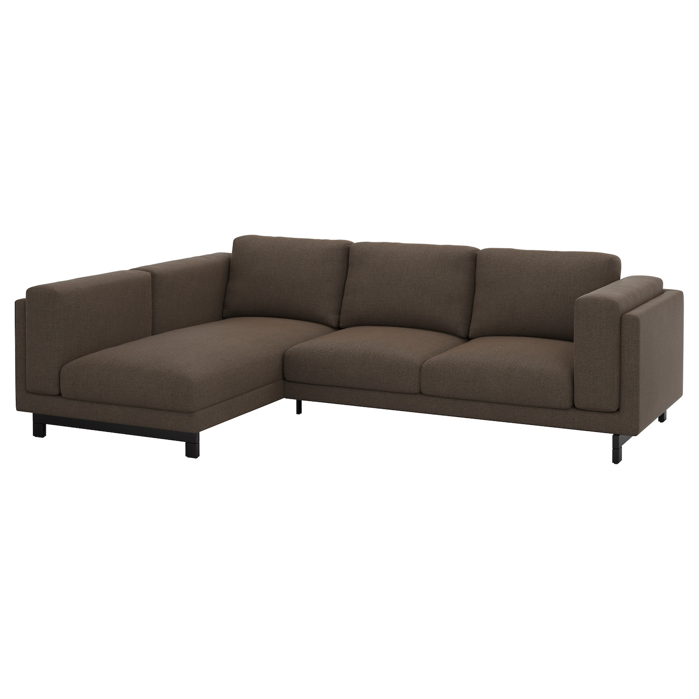 Nockeby two seat sofa w chaise longue left ten brown wood for 2 seater chaise sofa