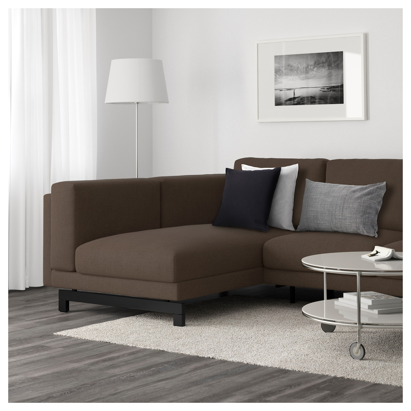 Nockeby two seat sofa w chaise longue left ten brown wood for Sofa nockeby