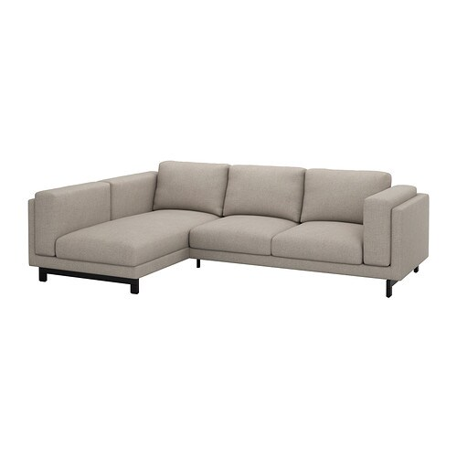 IKEA NOCKEBY two-seat sofa w chaise longue left