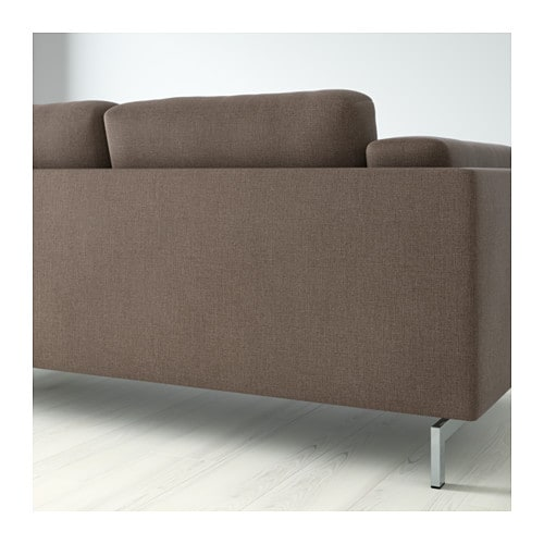 Nockeby two seat sofa w chaise longue right ten brown for Brown chaise longue