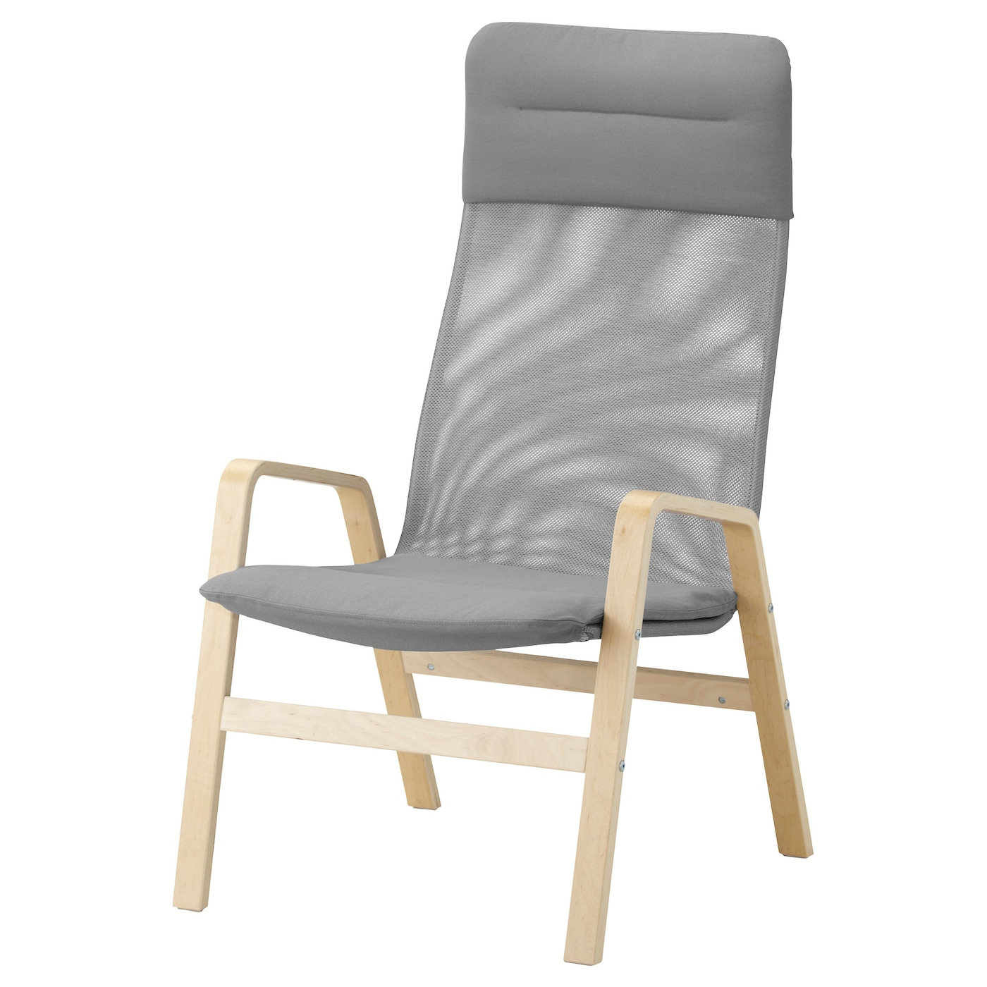 Nolbyn high back armchair birch veneer grey ikea for Armchair with high back