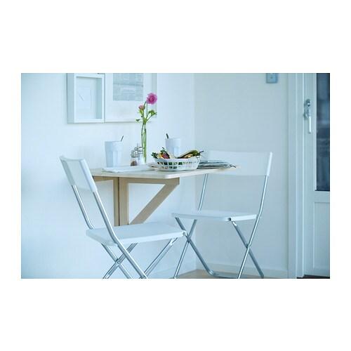 Norbo wall mounted drop leaf table birch 79x59 cm ikea