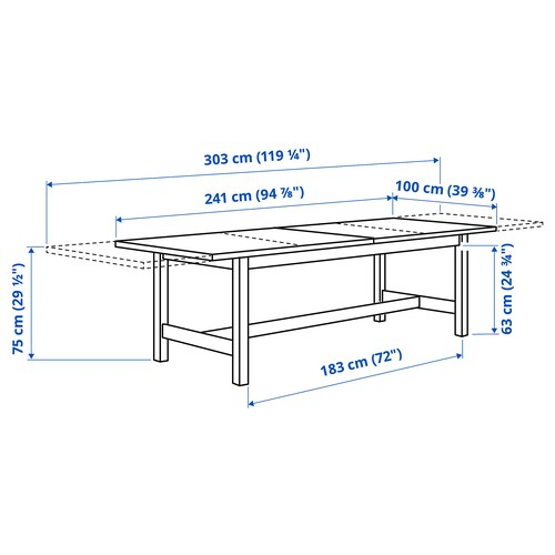 Norden Oak Extendable Table Min Length 241 Cm Ikea