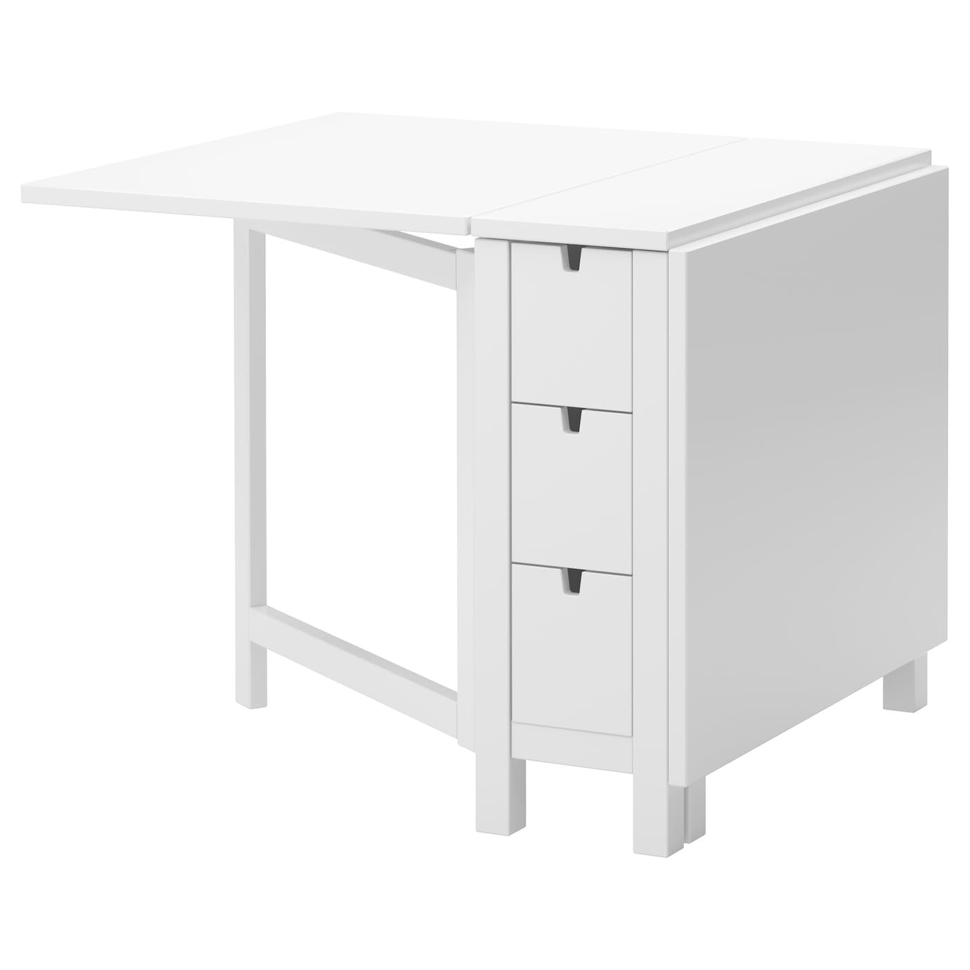 White Dining Table Ikea: NORDEN Gateleg Table White 26/89/152 X 80 Cm