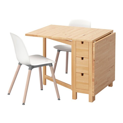 Norden leifarne table and 2 chairs birch white 89 cm ikea for Table norden ikea