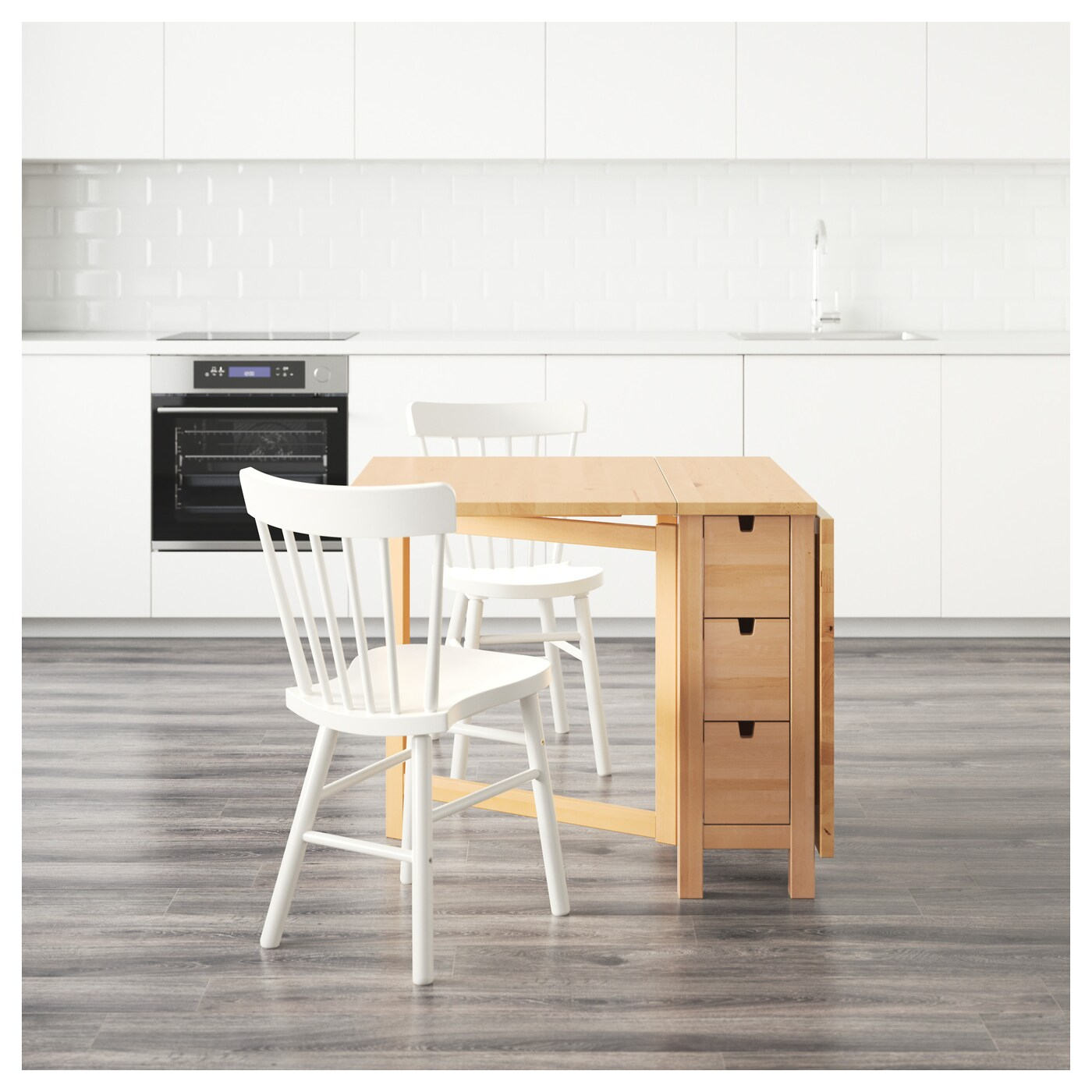 IKEA NORDEN/NORRARYD table and 2 chairs Solid wood is a hardwearing natural material.