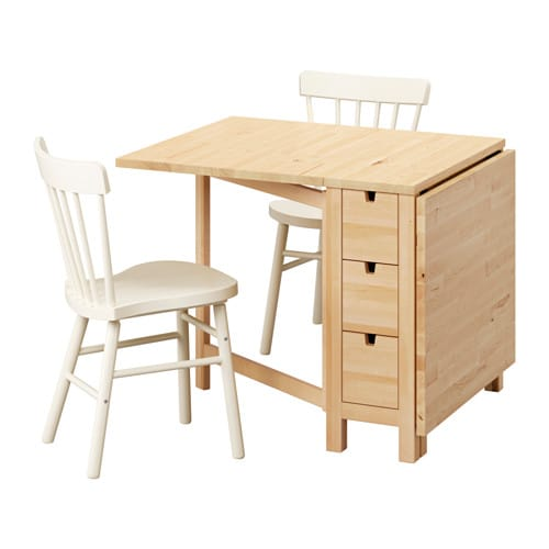 Norden norraryd table and 2 chairs birch white 89 cm ikea - Table cuisine pliante ikea ...