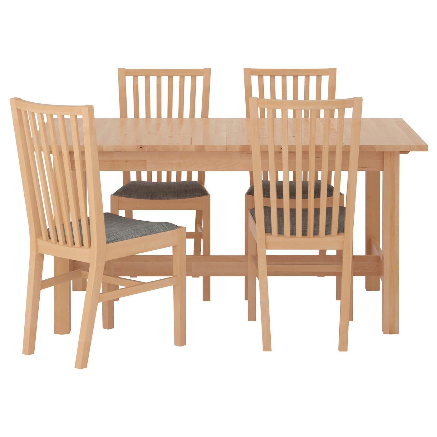 Norden norrn s table and 4 chairs birch isunda grey 155 cm for Small kitchen table with 4 chairs
