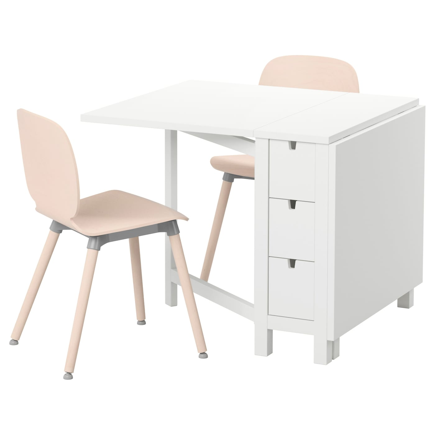 Norden svenbertil table and 2 chairs white birch 89 cm ikea for Table de norden ikea