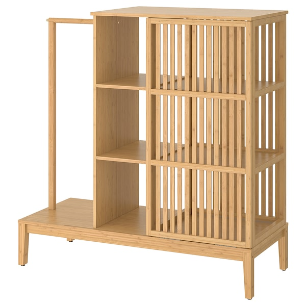 NORDKISA open wardrobe with sliding door bamboo 120 cm 47 cm 123 cm