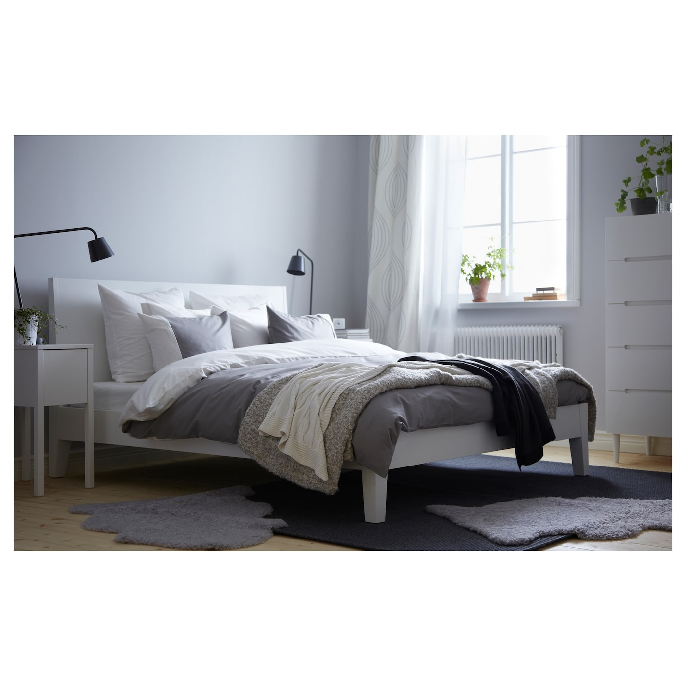 nordli bed frame white leirsund 140x200 cm ikea. Black Bedroom Furniture Sets. Home Design Ideas
