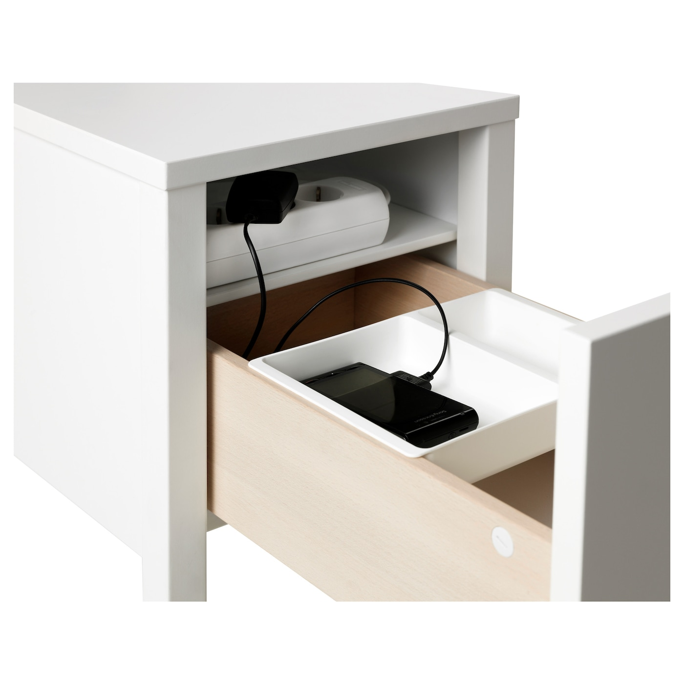 IKEA NORDLI Bedside Table On The Hidden Shelf Is Room For An Extension  Socket For Your