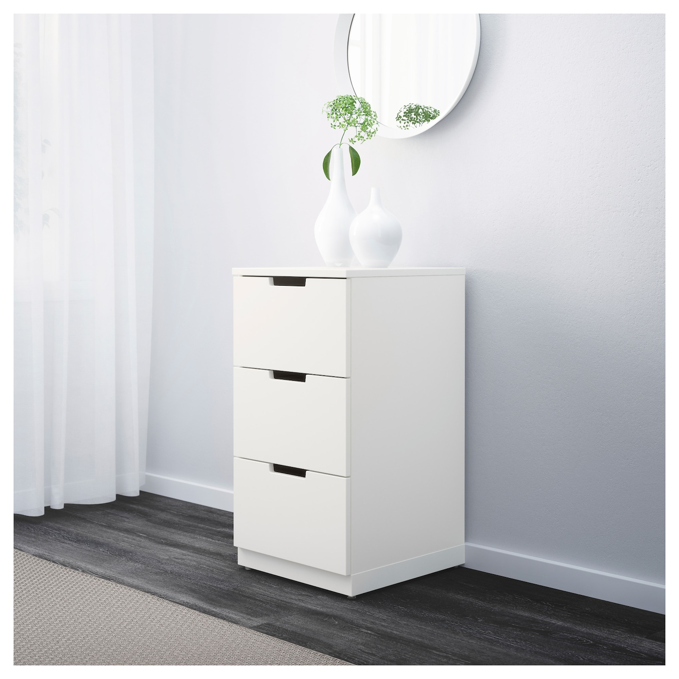 nordli chest of 3 drawers white 40x75 cm ikea. Black Bedroom Furniture Sets. Home Design Ideas