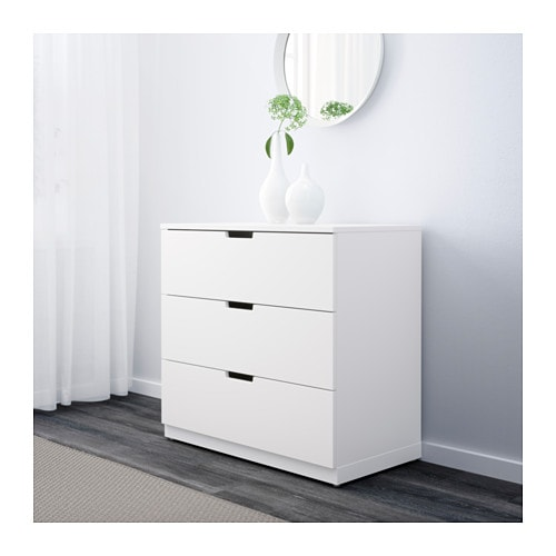 nordli chest of 3 drawers white 80x75 cm ikea. Black Bedroom Furniture Sets. Home Design Ideas
