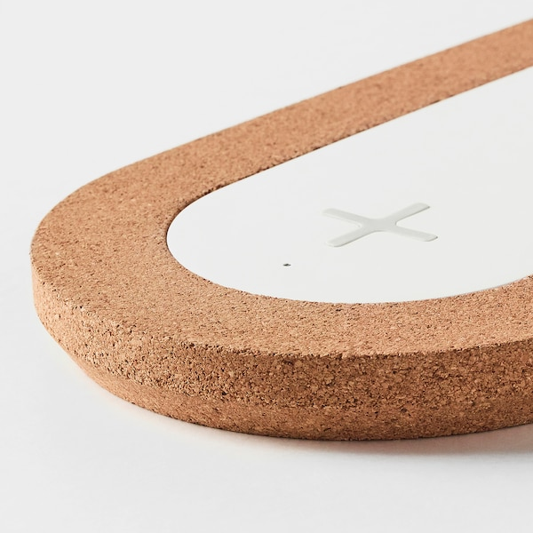 NORDMÄRKE Triple pad for wireless charging, white/cork