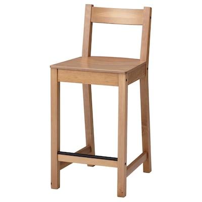 NORDVIKEN Bar stool with backrest, antique stain, 62 cm