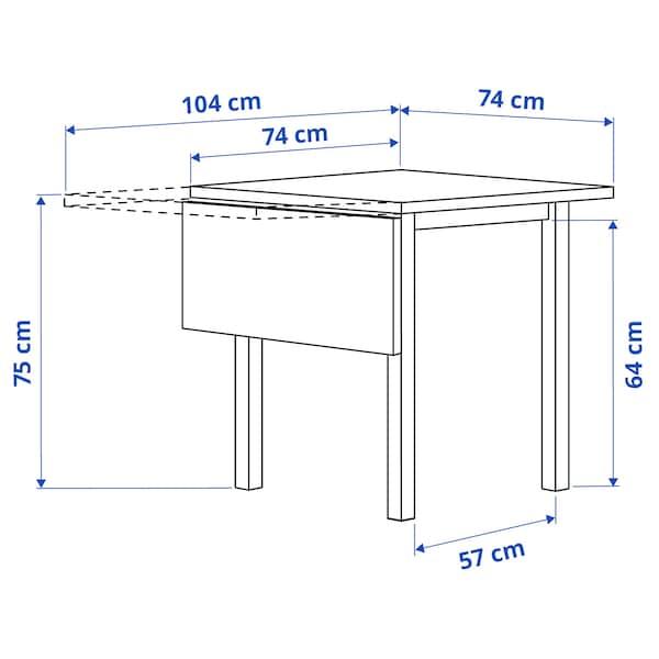 NORDVIKEN Drop-leaf table, white, 74/104x74 cm