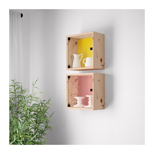 Norn s glass door wall cabinet pine orange yellow 37x37 cm for Ikea glass door wall cabinet