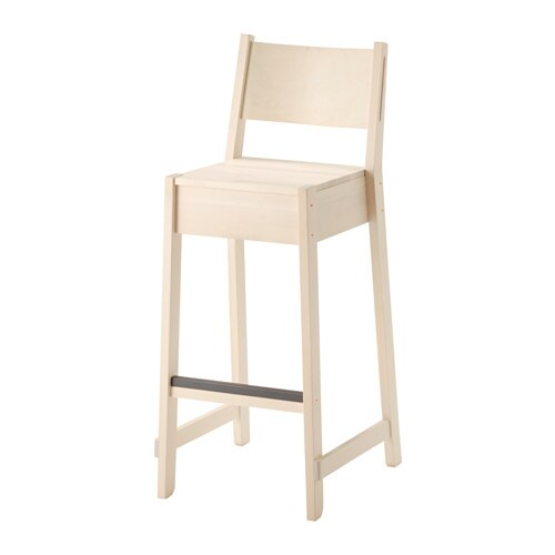 Norr ker bar stool with backrest white birch 74 cm ikea for Barhocker 90 ikea