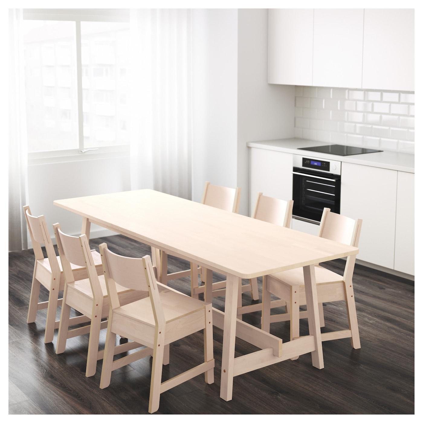 Norr ker table white birch 220x80 cm ikea for Table ikea 5 99