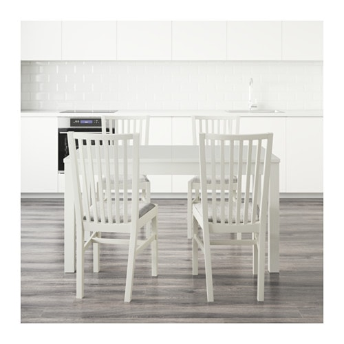NORRN S BJURSTA Table And 4 Chairs White Isunda Grey 140 Cm IKEA