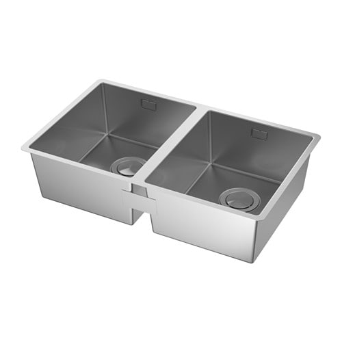 IKEA NORRSJÖN inset sink, 2 bowls 25 year guarantee. Read about the terms in the guarantee brochure.