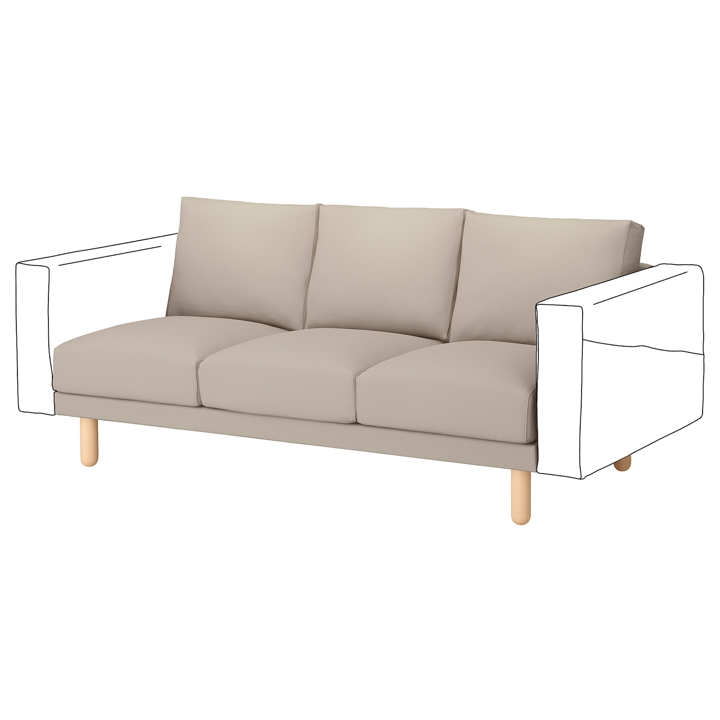 IKEA NORSBORG 3-seat section 10 year guarantee. Read about the terms in the guarantee brochure.