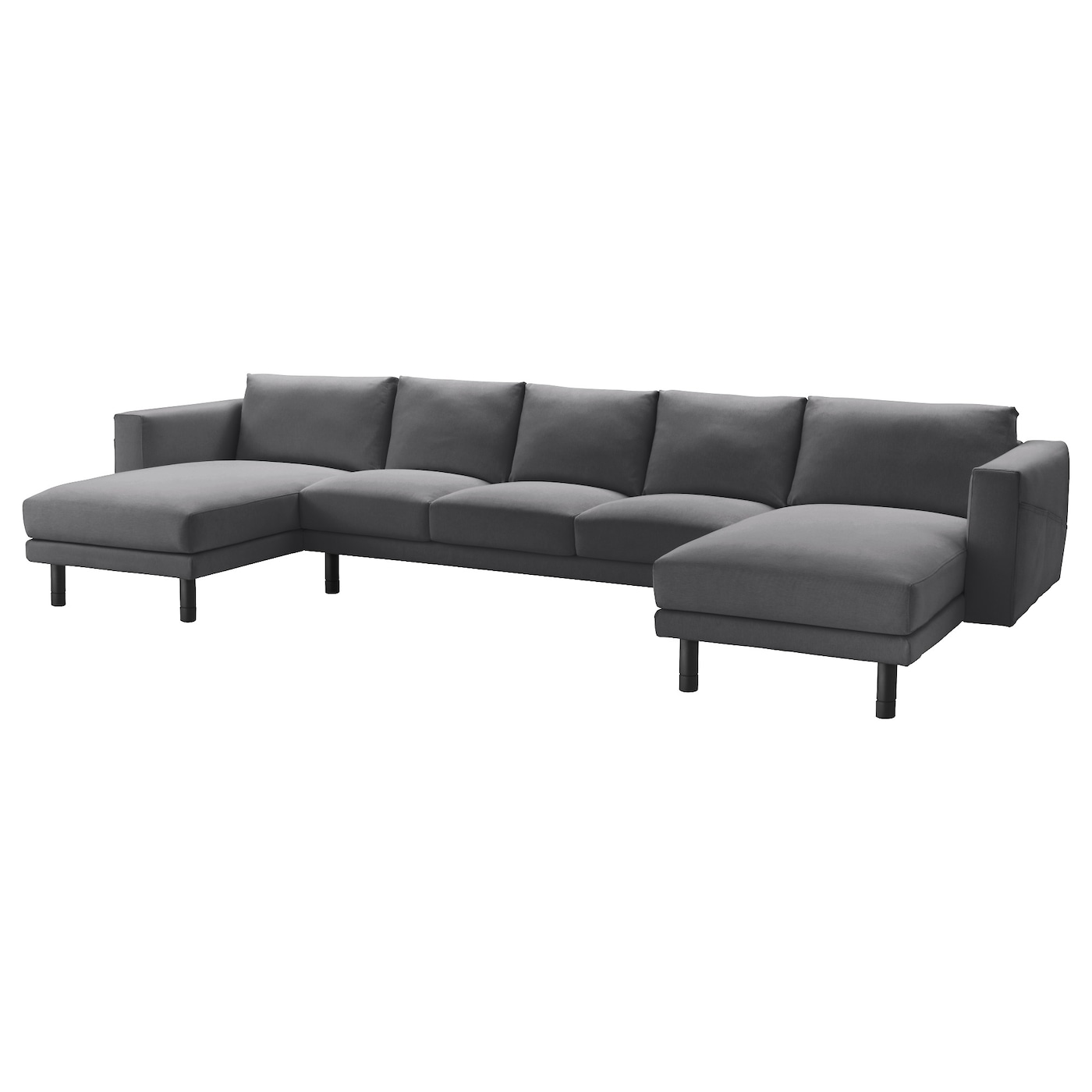 norsborg 3 seat sofa with 2 chaise longues finnsta dark grey grey ikea. Black Bedroom Furniture Sets. Home Design Ideas