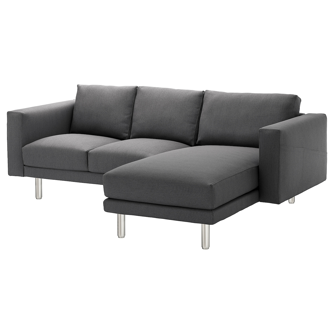 norsborg 3 seat sofa with chaise longue finnsta dark grey metal ikea. Black Bedroom Furniture Sets. Home Design Ideas