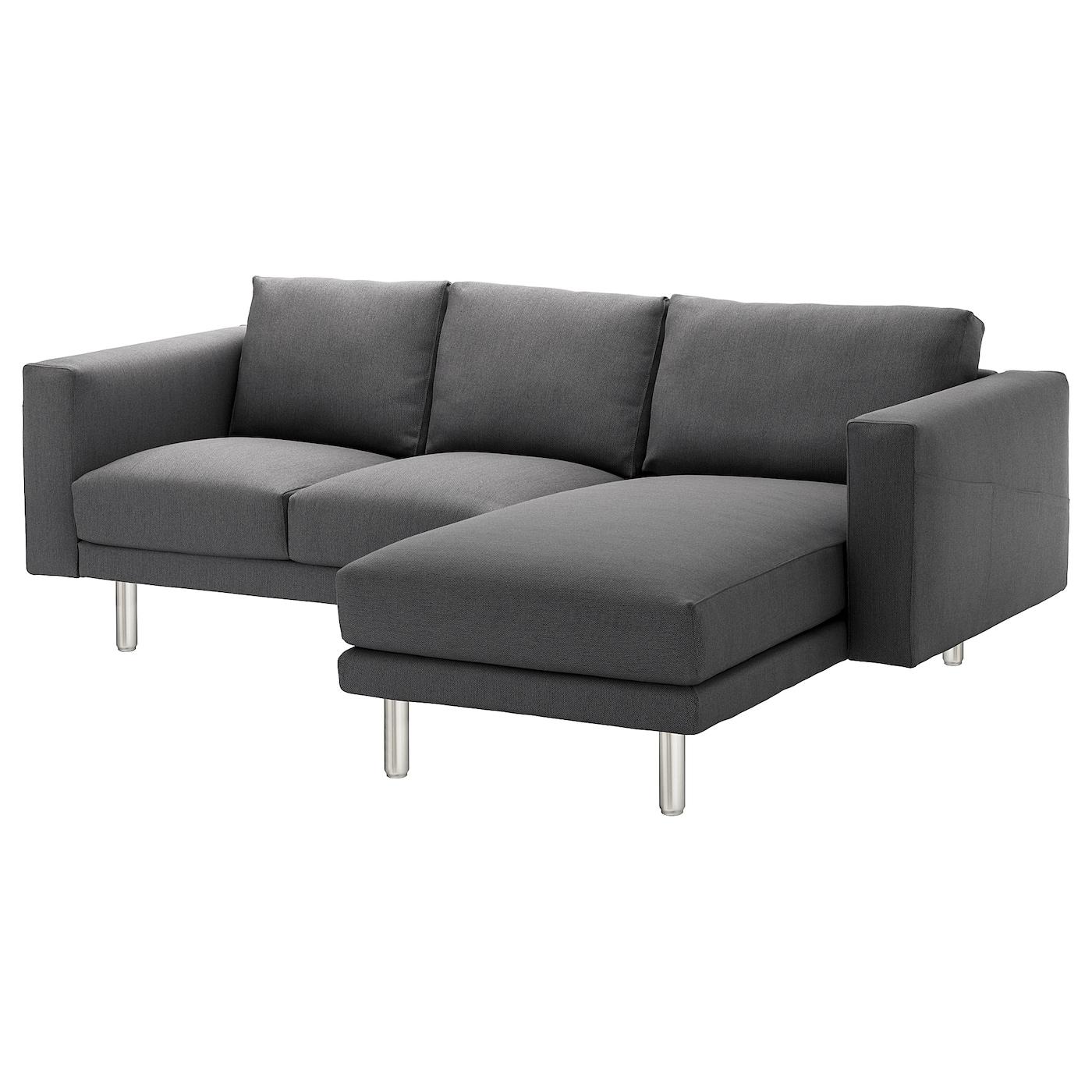 norsborg 3 seat sofa with chaise longue finnsta dark grey metal ikea. Black Bedroom Furniture Sets. Home Design Ideas