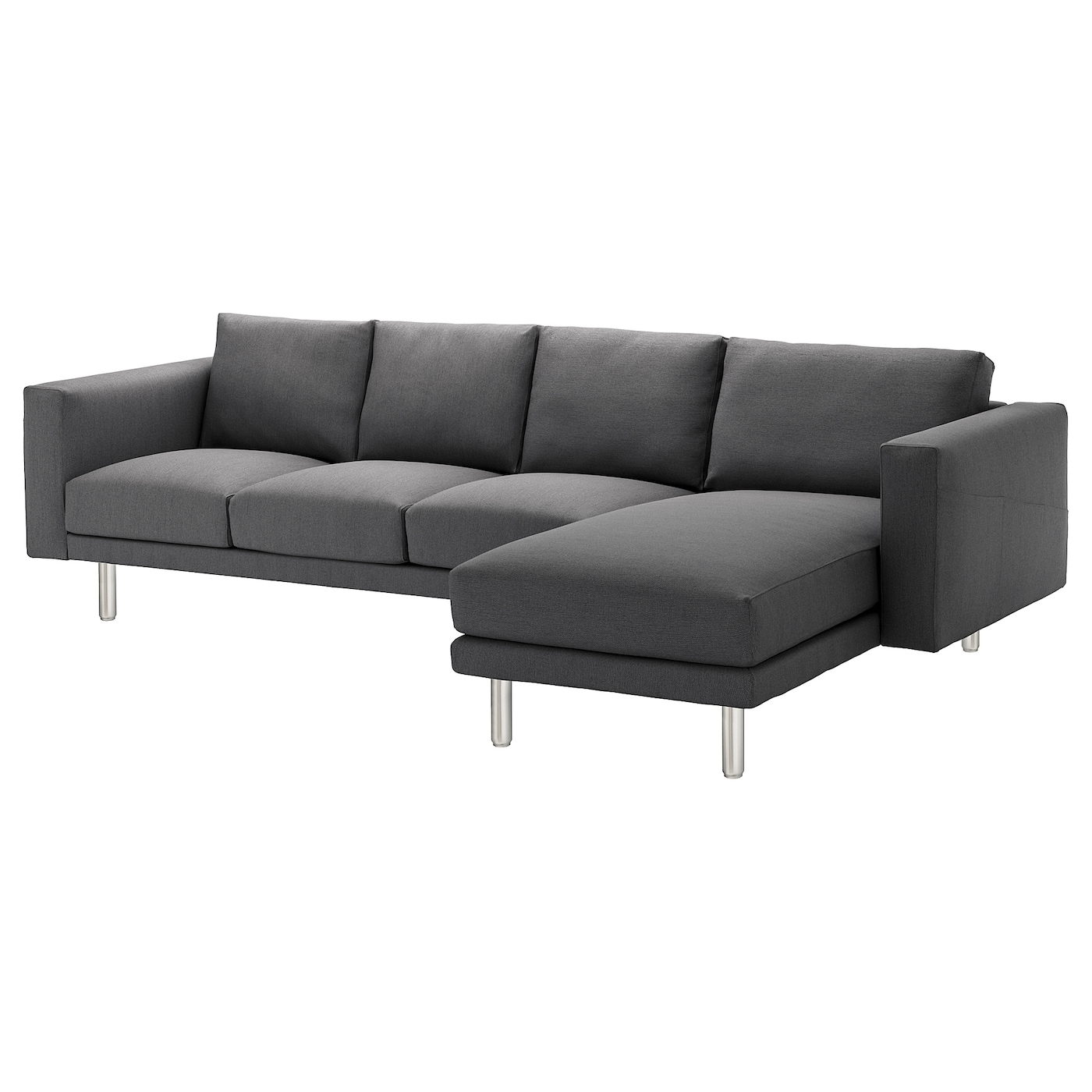 norsborg 4 seat sofa with chaise longue finnsta dark grey metal ikea. Black Bedroom Furniture Sets. Home Design Ideas