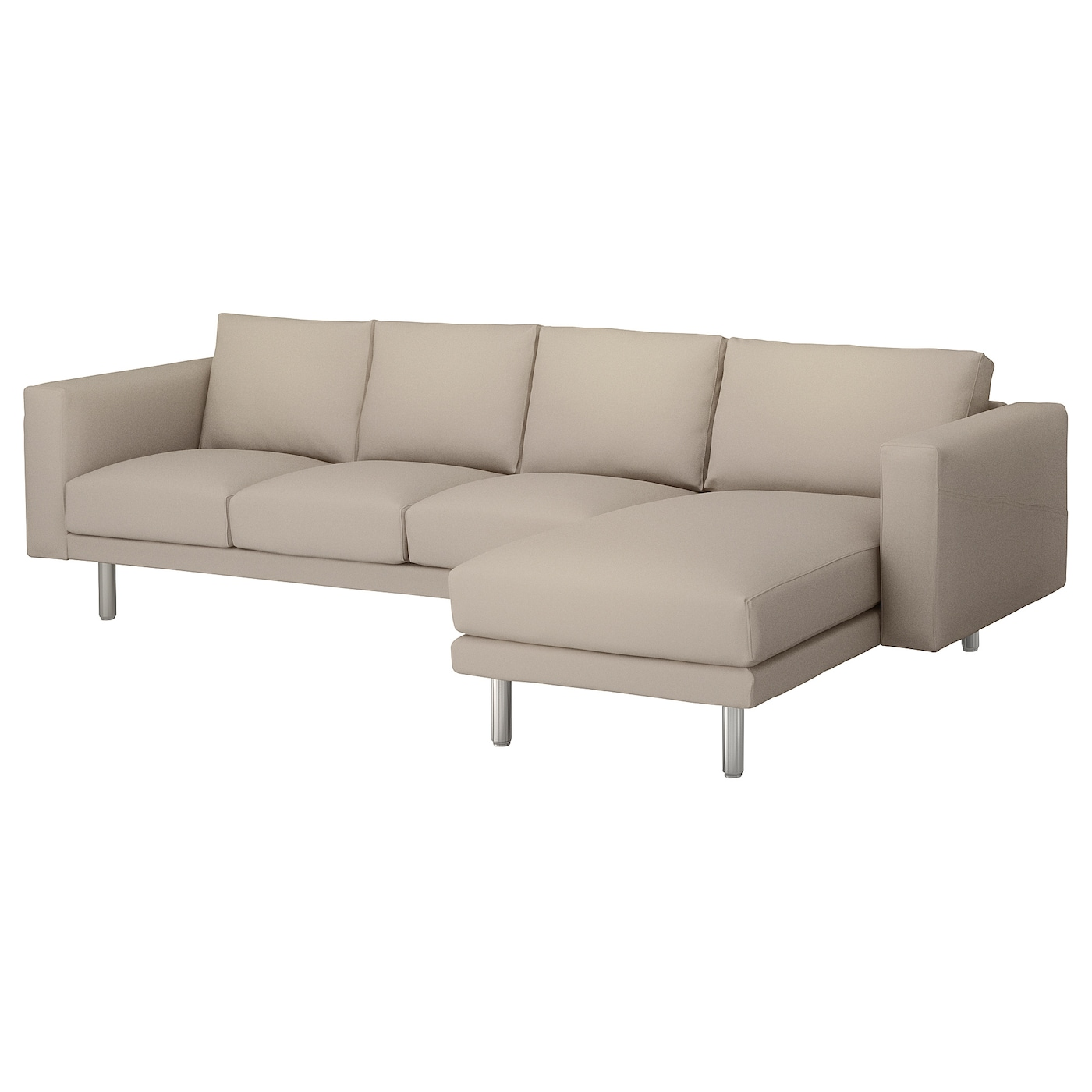 Norsborg 4 seat sofa with chaise longue gr sbo beige metal for 4 seat sofa with chaise