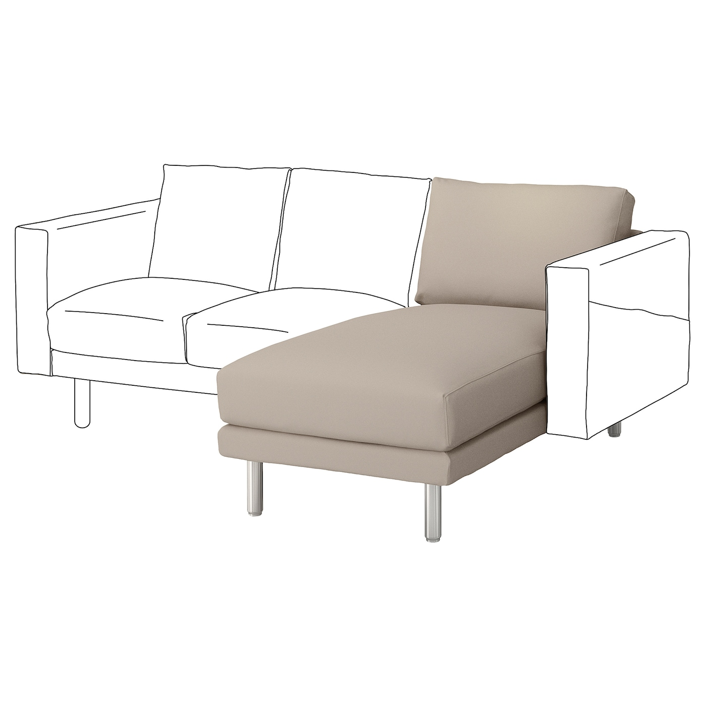 Norsborg chaise longue section gr sbo beige metal ikea for Chaise longue en aluminium