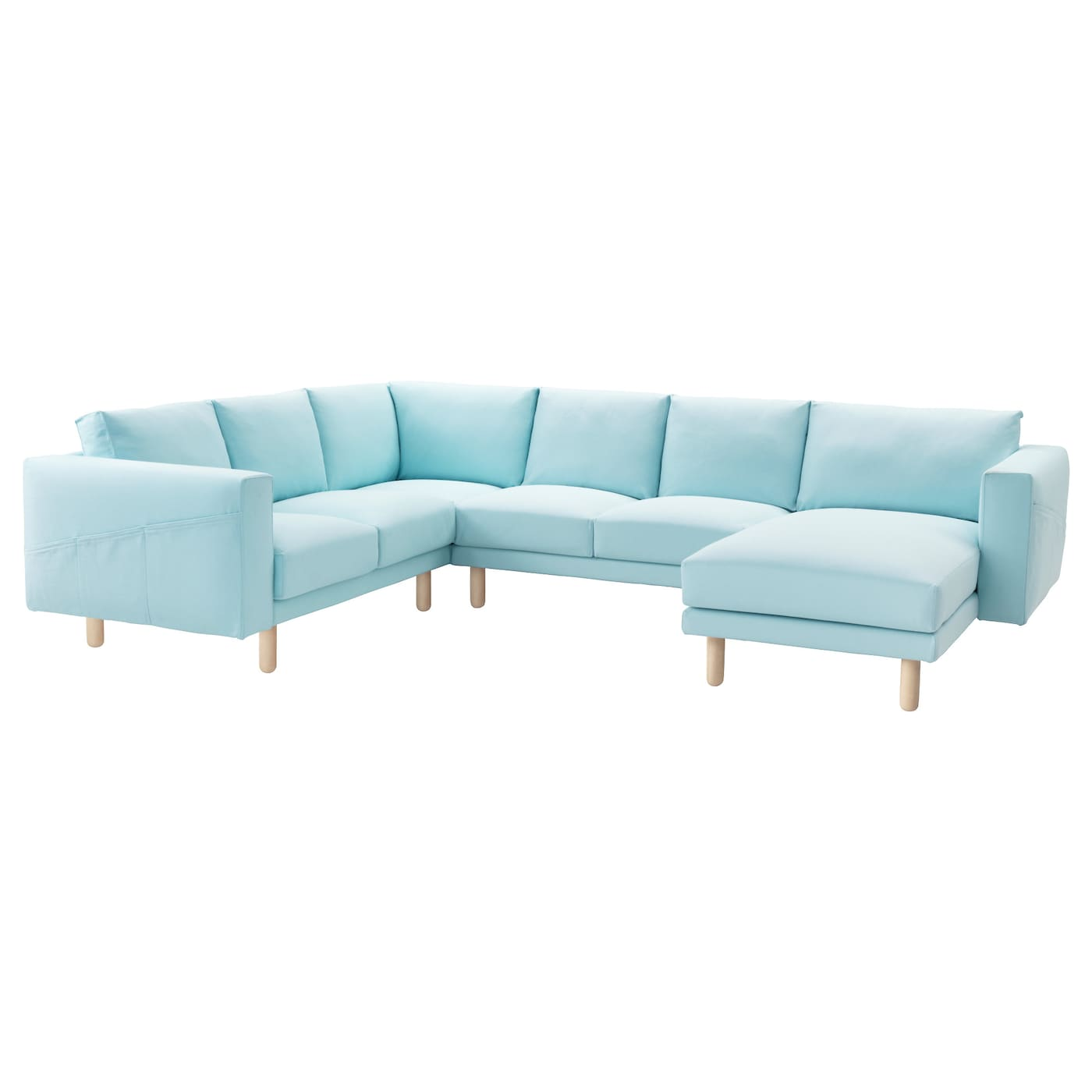 norsborg corner sofa 2 2 with chaise longue gr sbo light blue birch ikea. Black Bedroom Furniture Sets. Home Design Ideas