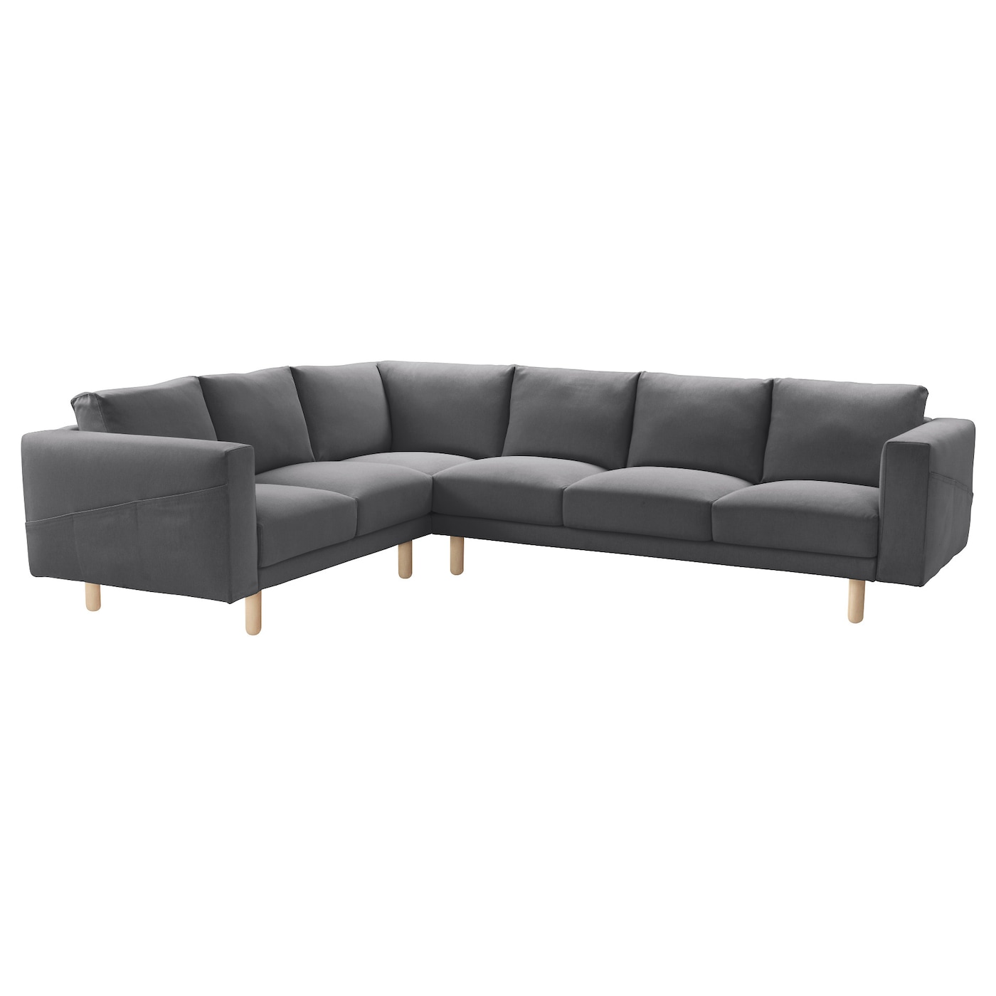 Small Corner Sofa No Arms: NORSBORG Corner Sofa, 5-seat Finnsta Dark Grey/birch