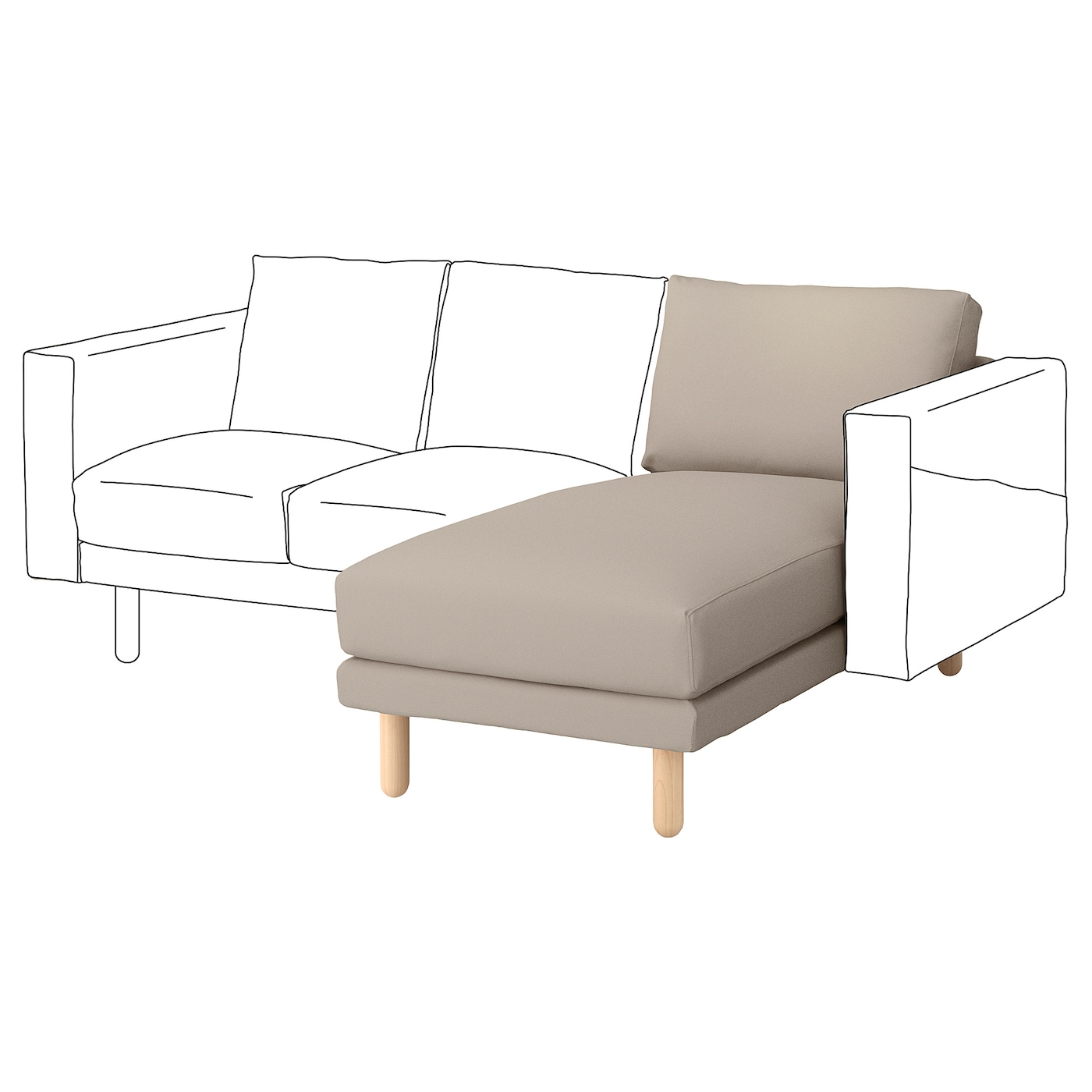 Norsborg cover chaise longue section gr sbo beige ikea for Chaise longue ikea