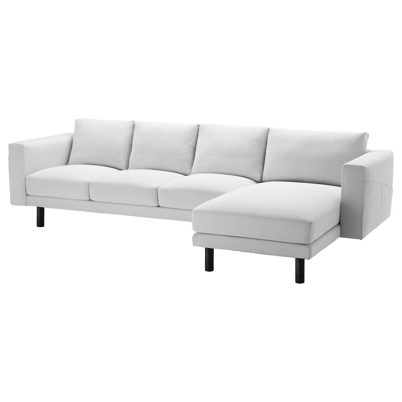 norsborg three seat sofa and chaise longue finnsta white grey ikea. Black Bedroom Furniture Sets. Home Design Ideas