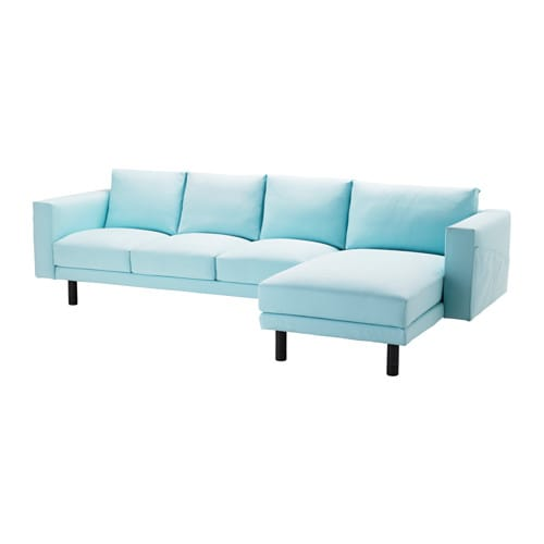 Norsborg three seat sofa and chaise longue gr sbo light blue grey ikea - Chaise ikea plastique ...