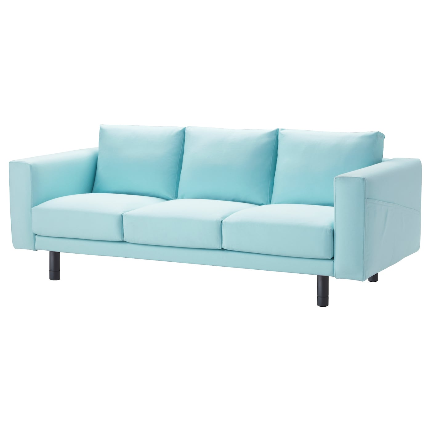 Norsborg three seat sofa gr sbo light blue grey ikea for Blue grey couch