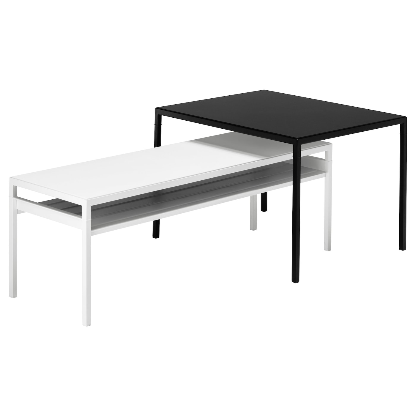 NYBODA Nest of tables with reversible tops Set of 2 black white IKEA