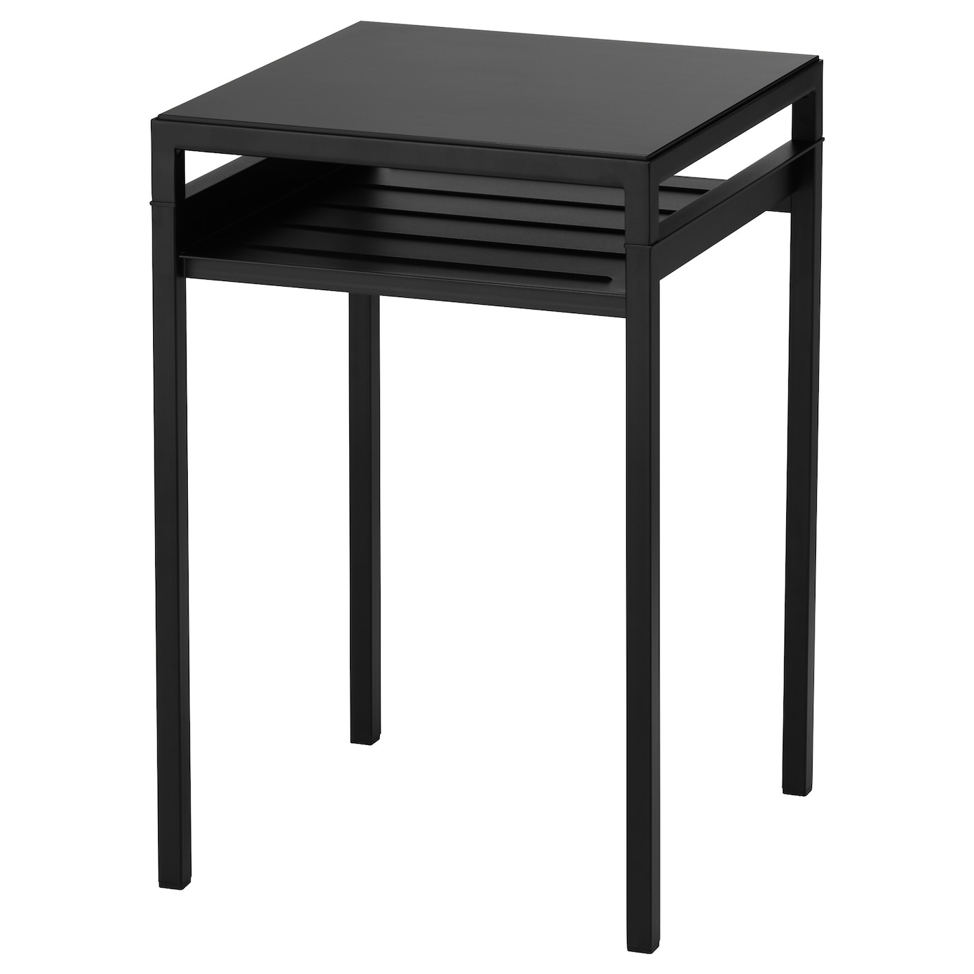NYBODA Side table w reversible table top Black beige 40x40x60 cm