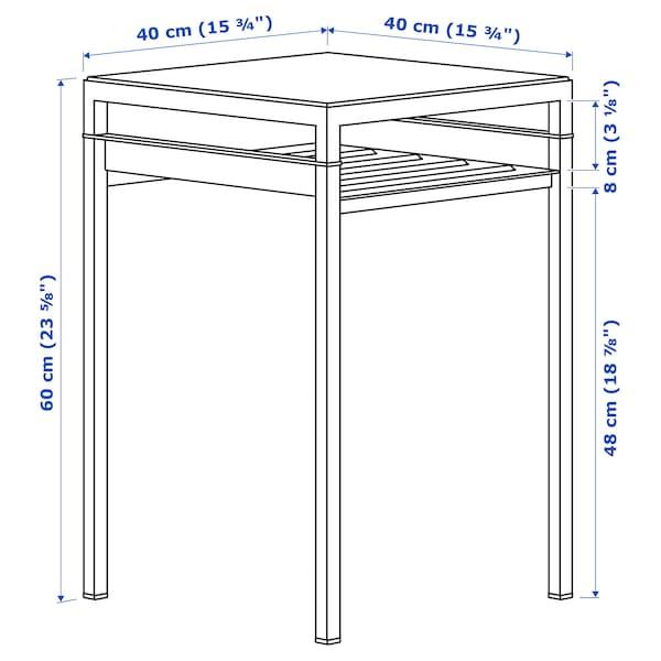 NYBODA Side table w reversible table top, dark grey concrete effect/black, 40x40x60 cm