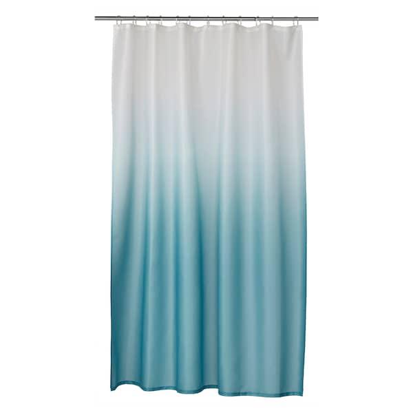 NYCKELN Shower curtain, white/turquoise, 180x180 cm