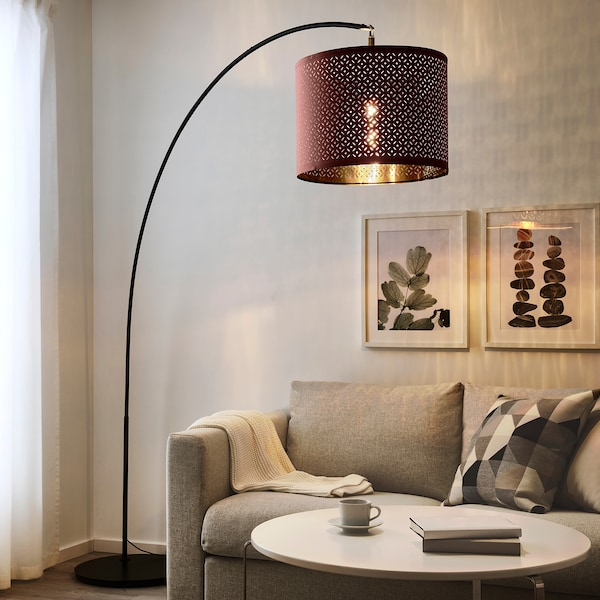 NYMÖ Lamp shade, dark red/brass-colour, 44 cm