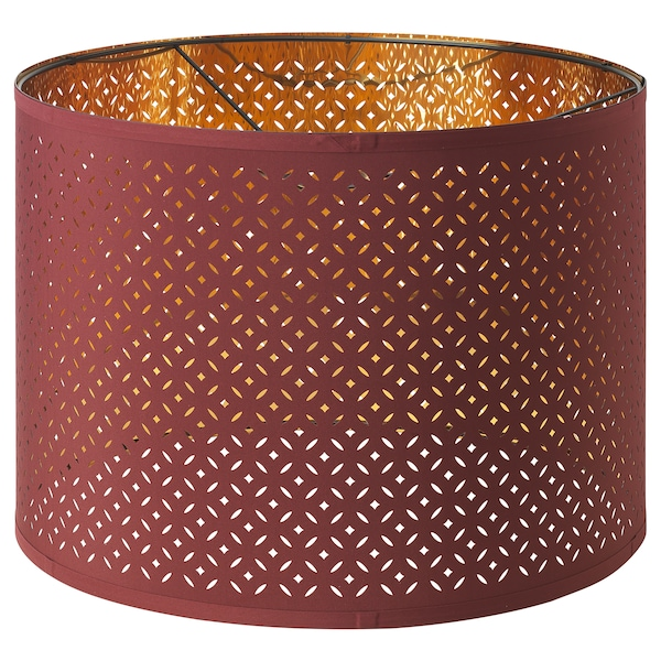 NYMÖ / SKAFTET Floor lamp, arched, red/brass-colour