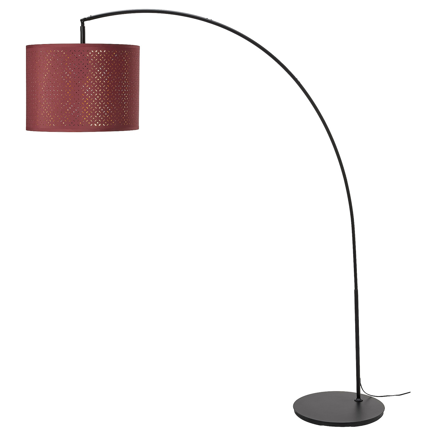 SKAFTET Floor lamp, arched, red, brass