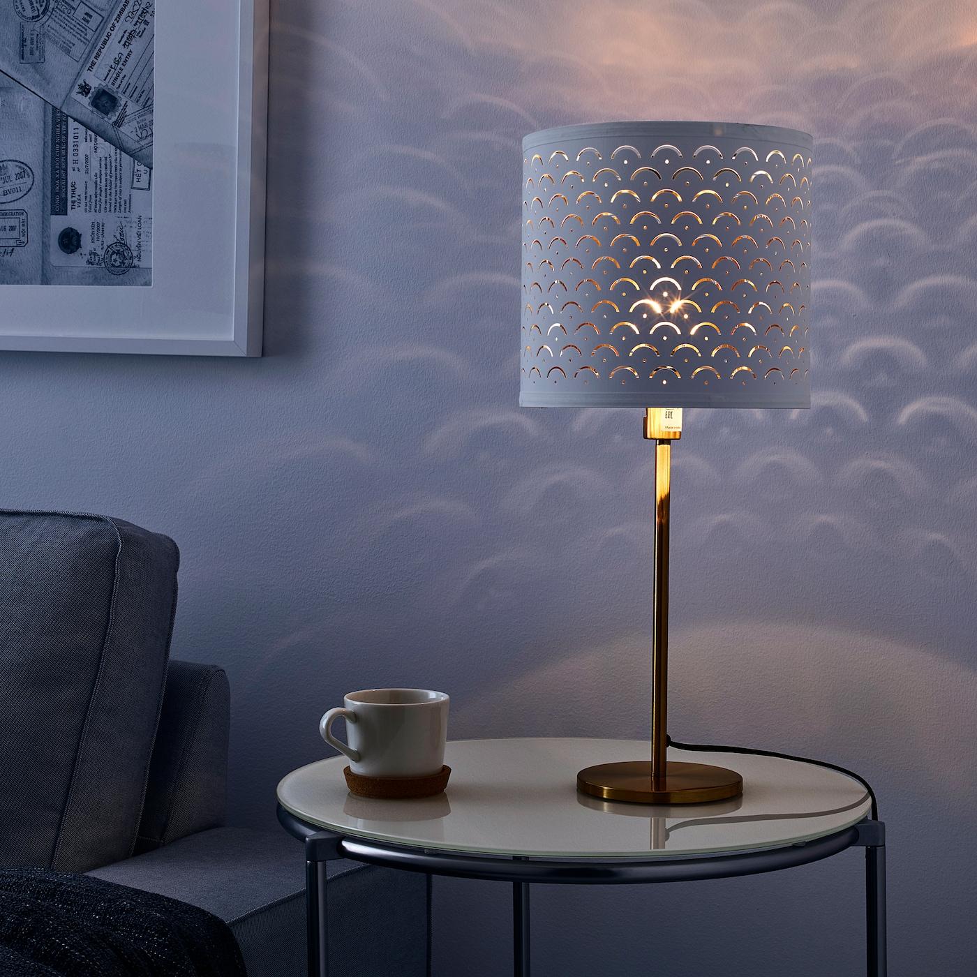SKAFTET white brass, brass, Table lamp