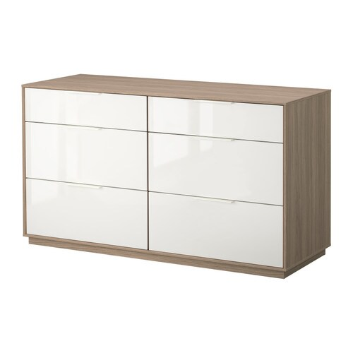 NYVOLL Chest of 6 drawers IKEA Drawers with integrated damper that catches the running drawers so that they close slowly, silently and softly.