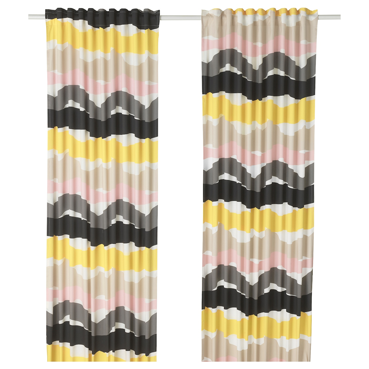 IKEA ODDVEIG curtains, 1 pair The curtains can be used on a curtain rod or a curtain track.